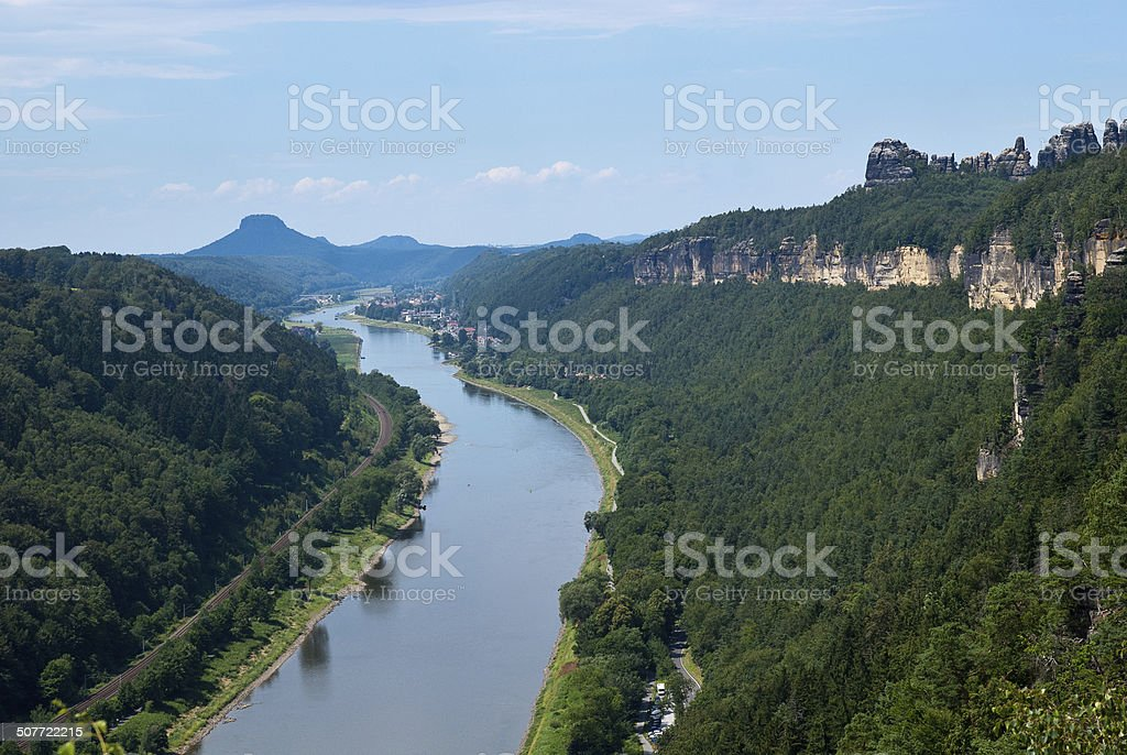 View from Small Bastei towards Bad Schandau and Elbe valley stock photo