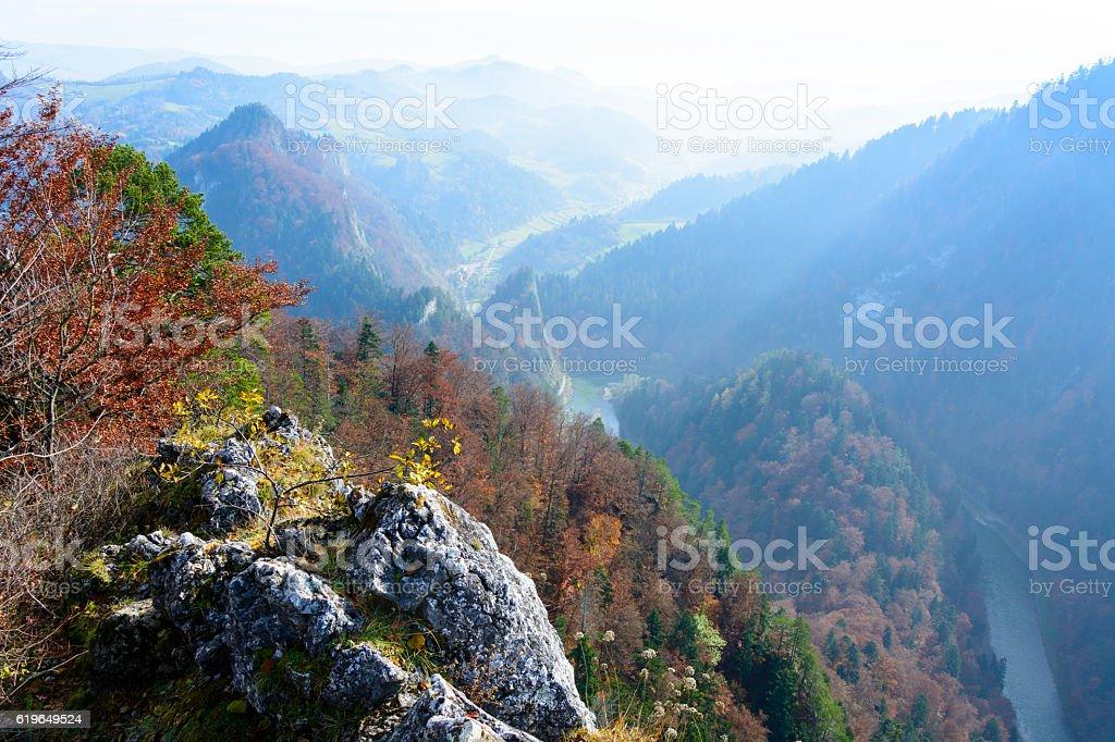 View from Sokolica mountain in Pieniny stock photo