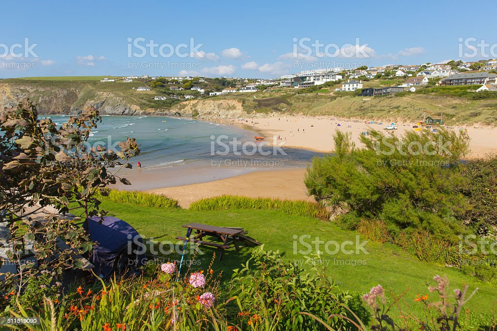 View from South west coast path Mawgan Porth Cornwall uk stock photo
