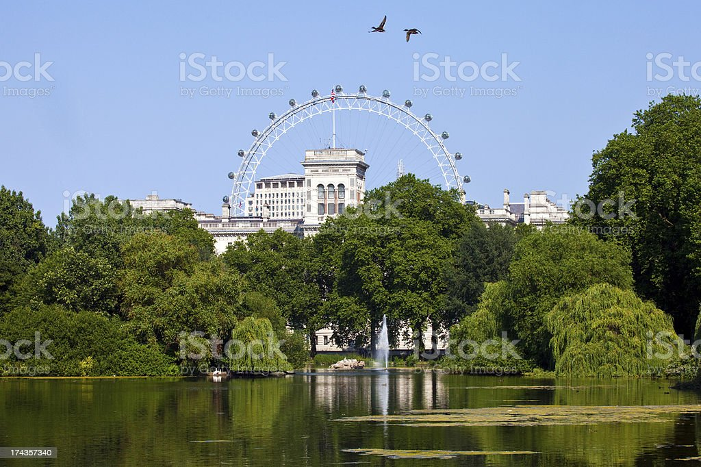 View from St. James Park in London on a clear day stock photo
