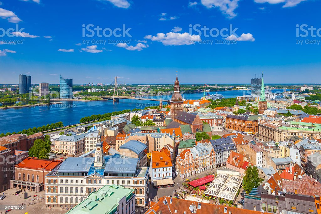 View from St. Peters Church on old Riga, Latvia. stock photo