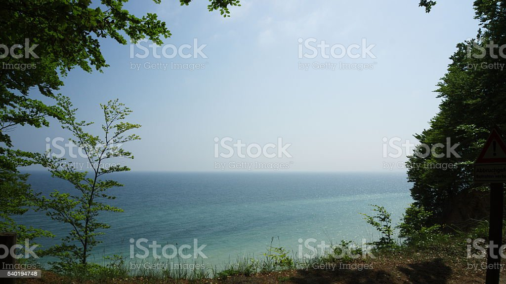 view from steep coast to baltic sea stock photo