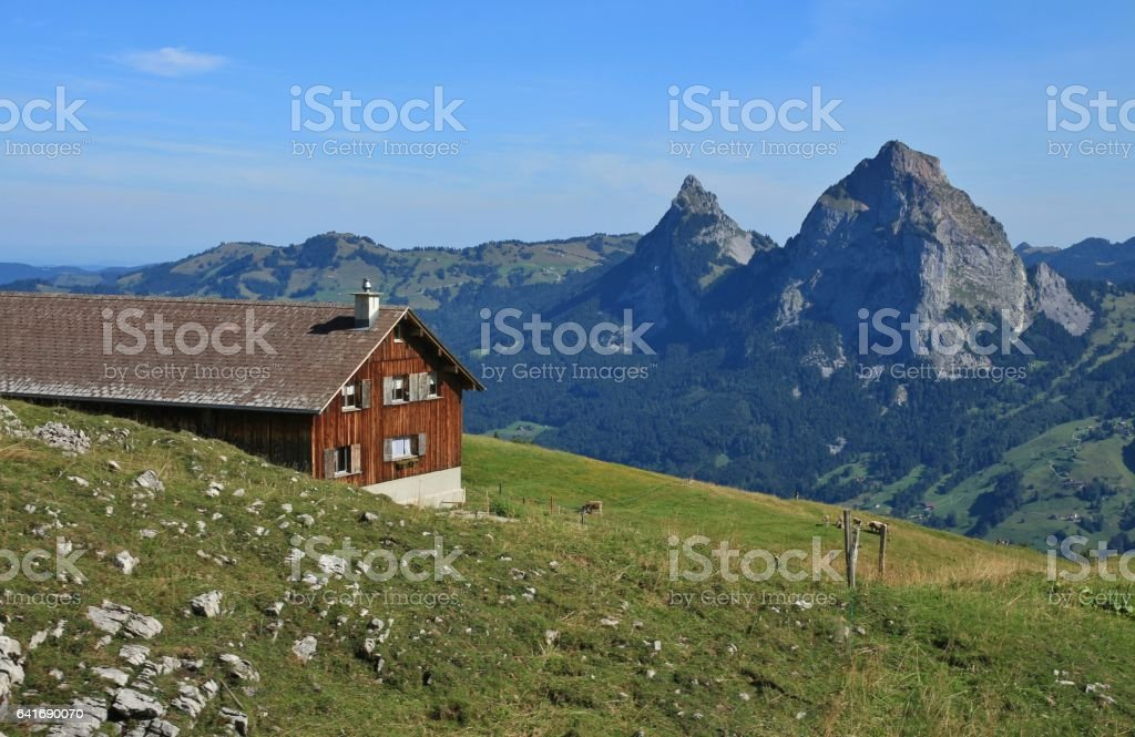 View from Stoos, mount Mythen. Farmhouse and green meadow. stock photo