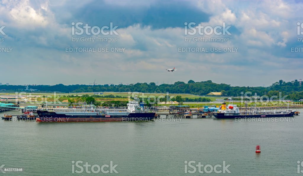 View from strait to Singapore airport. stock photo