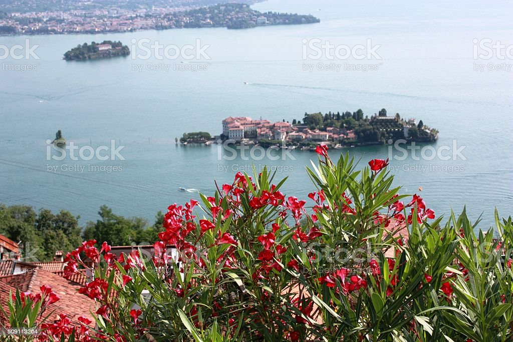 View from Stresa to Isola Bella and Isola Madre, Italy stock photo