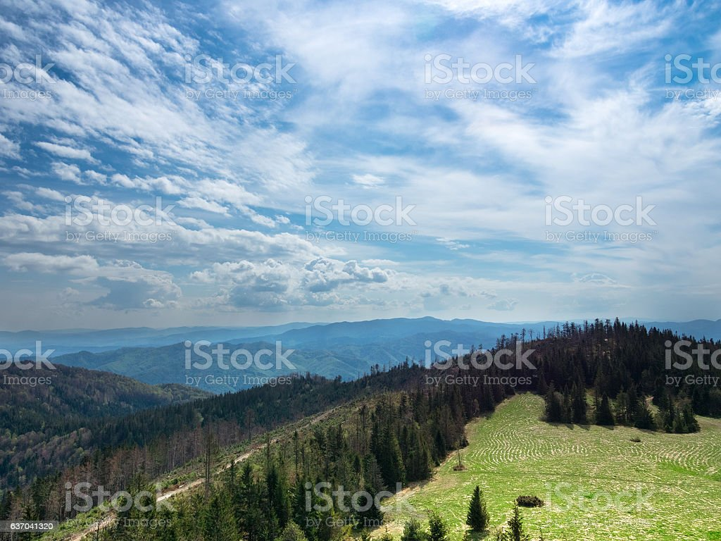 View from summit mountain Luban in Gorce mountains stock photo