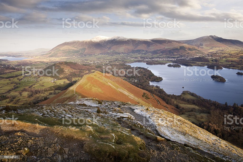 View from summit of Catbells in the English Lake District stock photo