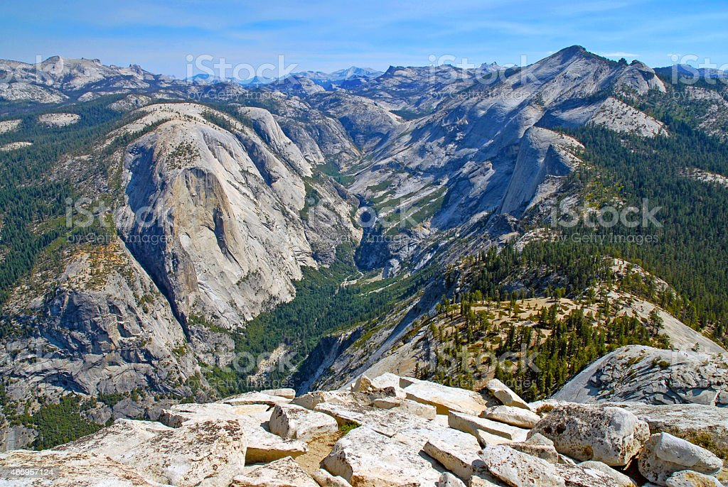 View from summit of Half Dome, Yosemite National Park stock photo