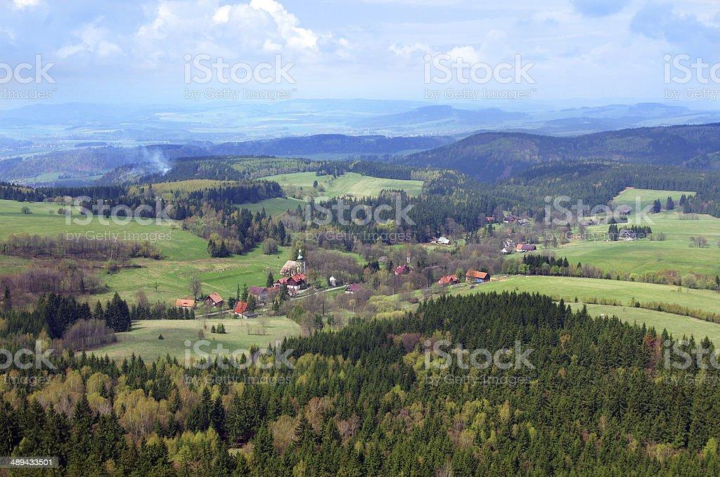 view from Szczeliniec Wielki in Gory Stolowe mountains, Poland stock photo