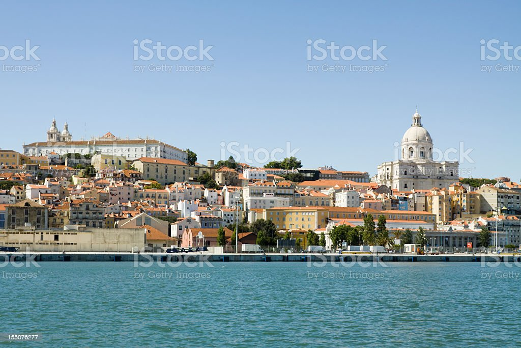 A view from Tagus River of the Alfama district of Lisbon  royalty-free stock photo
