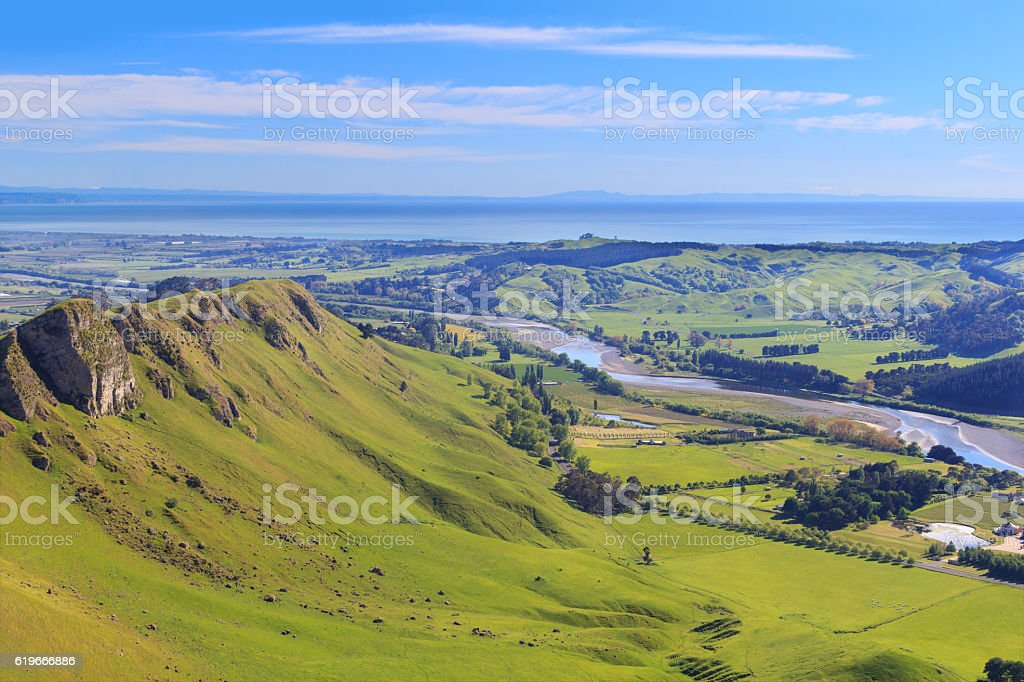View from Te Mata Peak, Hawkes Bay, New Zealand stock photo