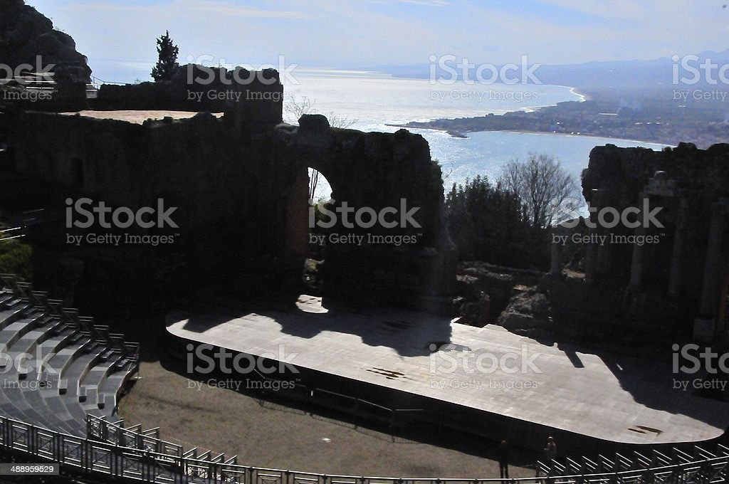 View from Teatro Greco in Taormina, Sicily stock photo