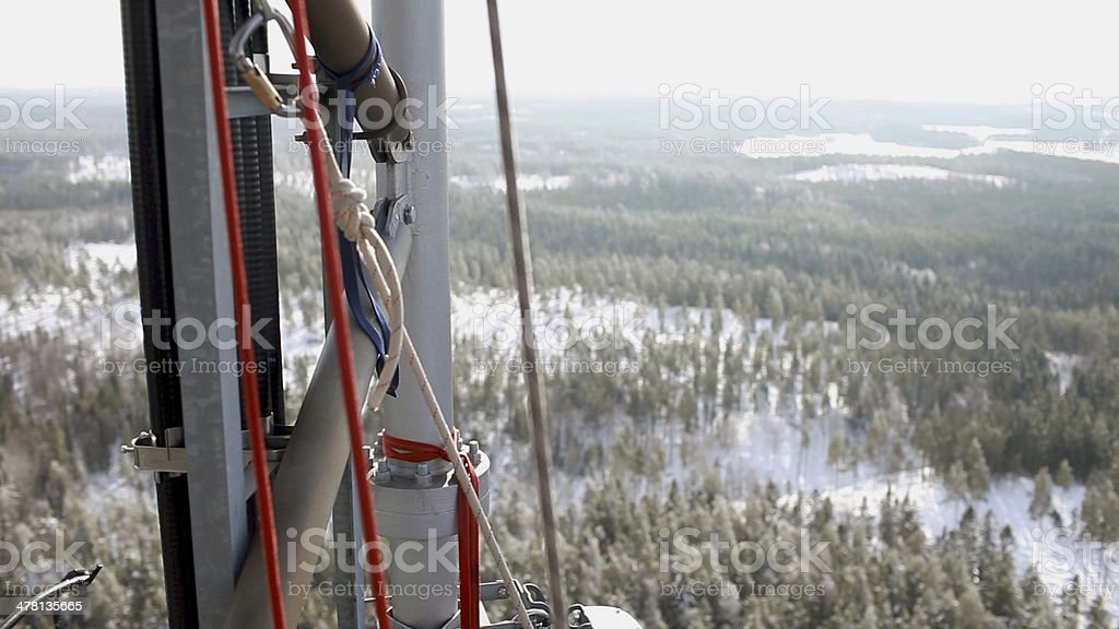 View from telecommunication tower at snowy swedish landscape. stock photo