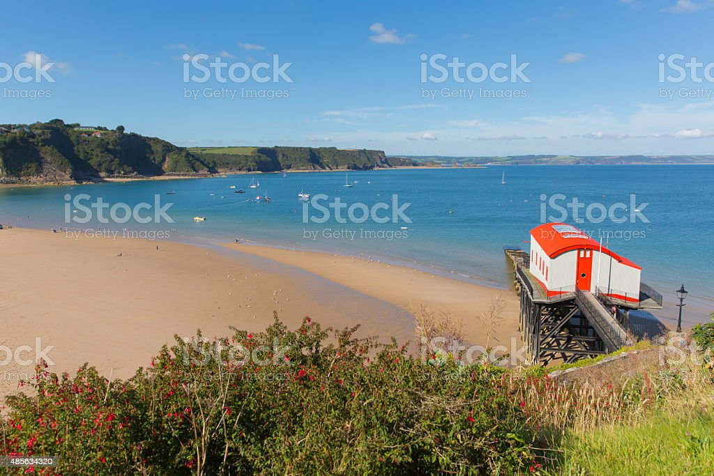 View from Tenby Wales coast and Carmarthen Bay in summer stock photo