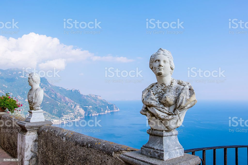 View from Terrace of Infinity in Villa Cimbrone stock photo