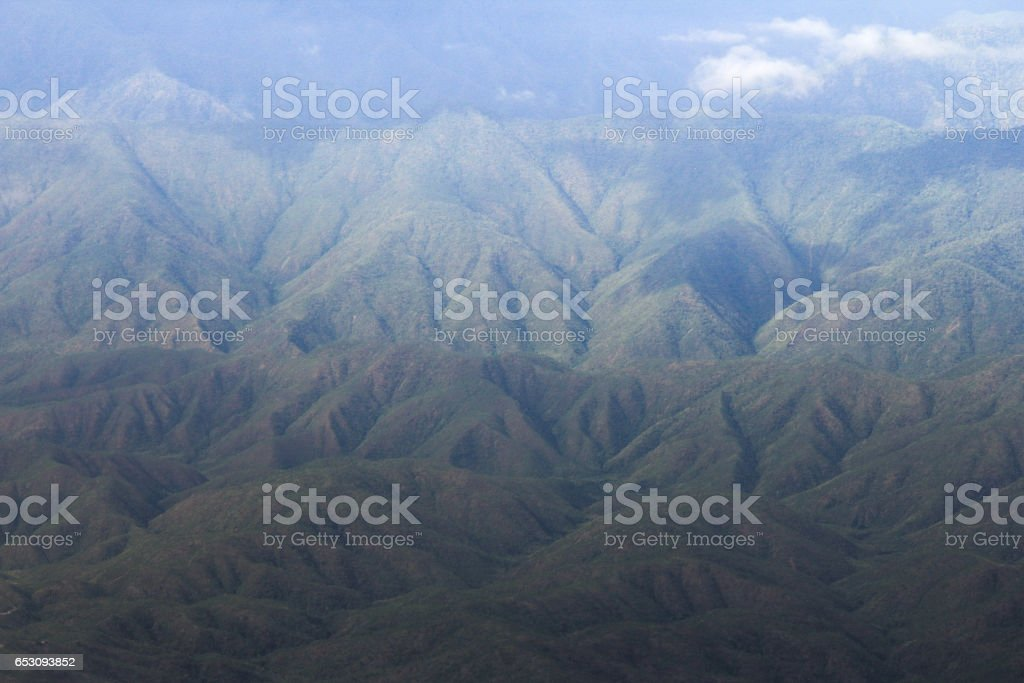 View from the airplane above the Inle city stock photo