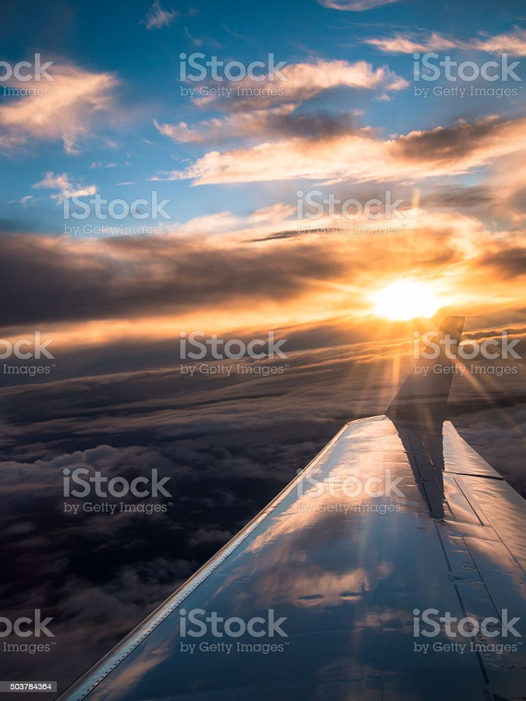 View from the airplane on the wing stock photo