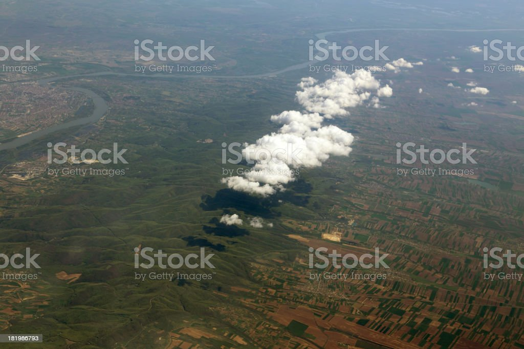 view from the airplane window beautiful clouds royalty-free stock photo