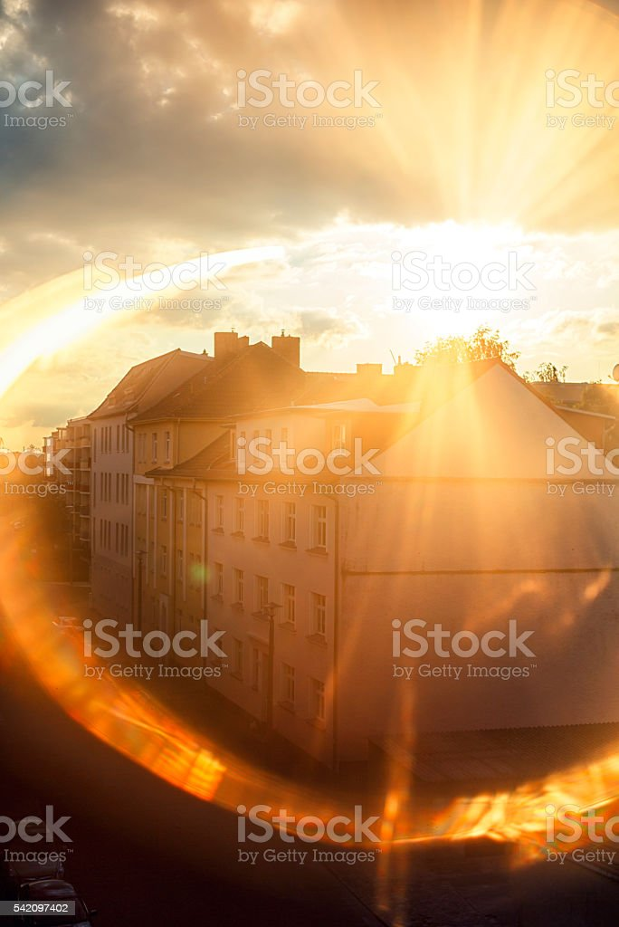 View from the attic in the city sunset stock photo