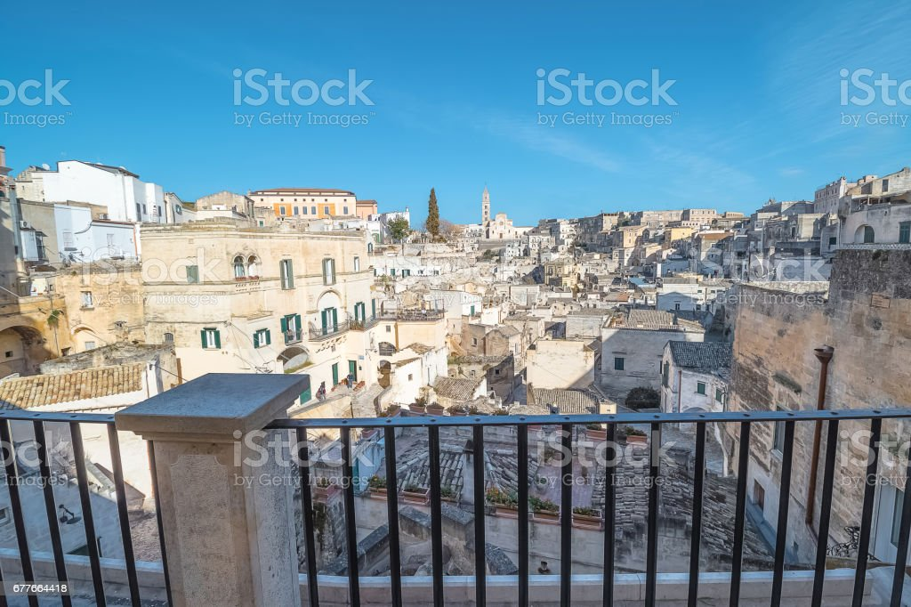 View from the balcony of Matera, Italy, UNESCO stock photo
