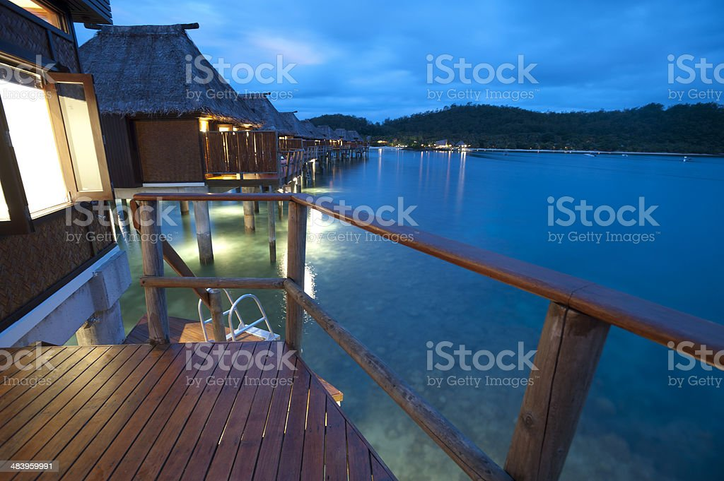 View from the balcony of over water bungalow stock photo