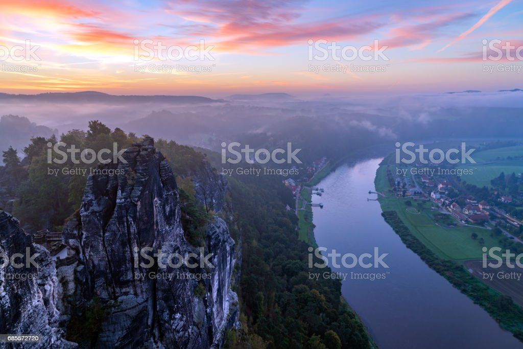 View from the Bastai mountain at sunrise, Saxony, Germany stock photo