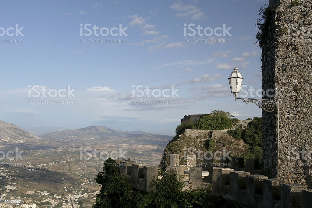 View from the Battlements, Erice stock photo