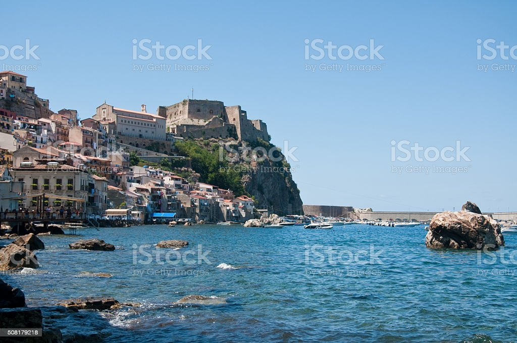 View from the beach of the town of Scilla stock photo