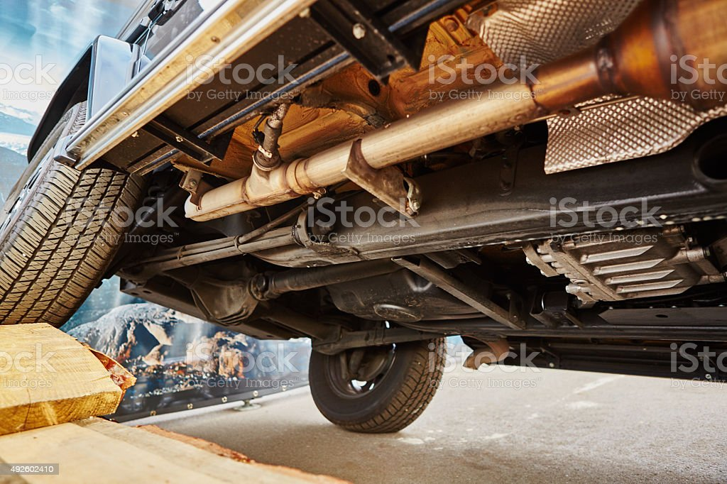 View from the bottom of a car stock photo