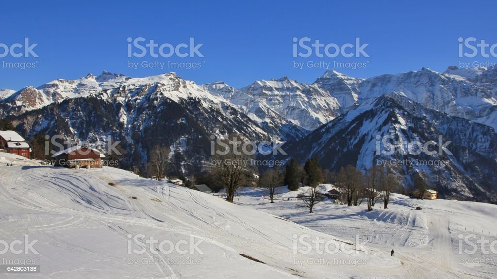 View from the Braunwald ski area, Glarus Canton stock photo