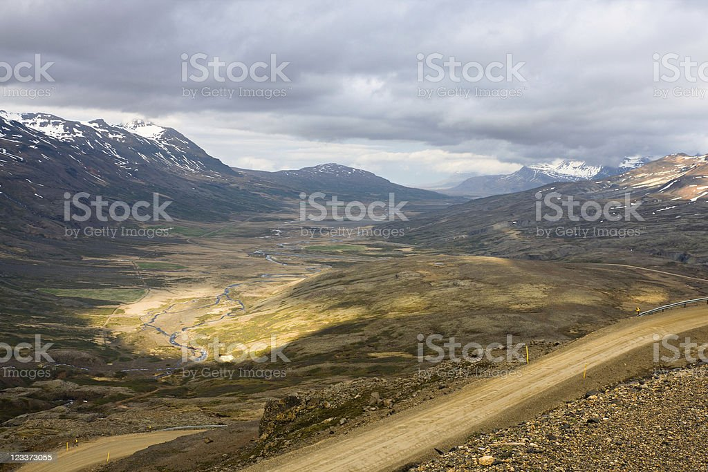View From The Breiðdalsheiði Mountain Pass, Iceland royalty-free stock photo