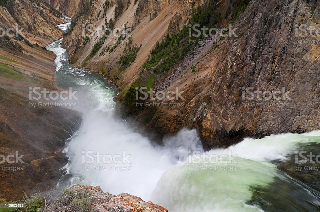 View from the brink of Lower Yellowstone Falls stock photo