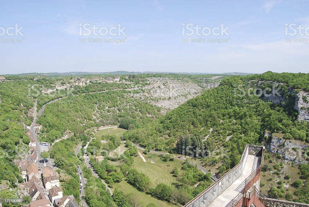 View from the Castle of Rocamadour. France stock photo