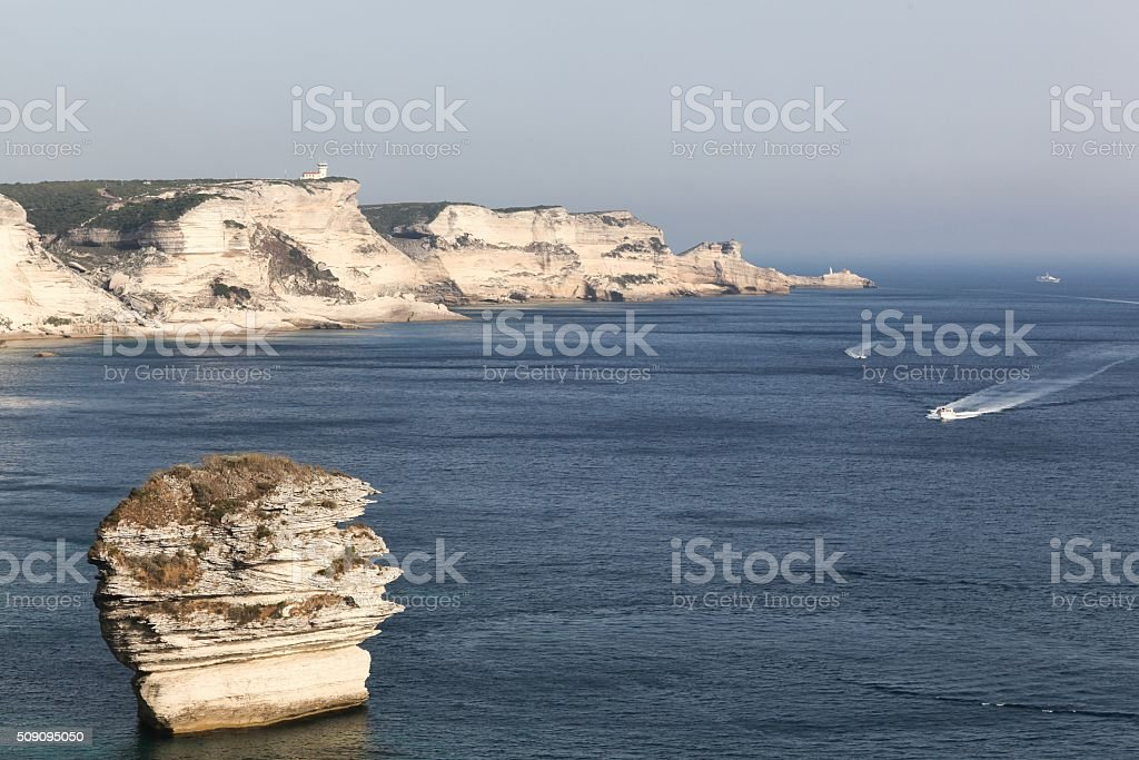 View from the citadel of Bonifacio in Corsica, France stock photo