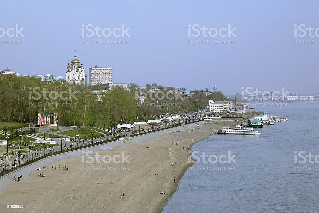 View from the Cliff above Amur River to Khabarovsk, Russia stock photo