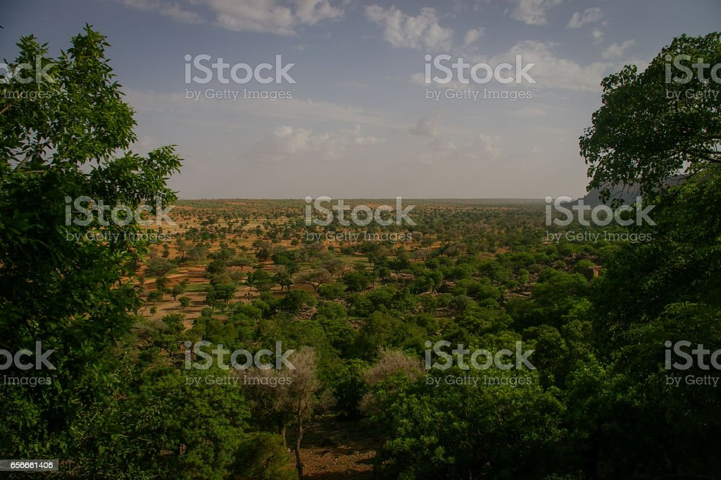 View from the cliff of Bandiagara, Dogon Country, Mali stock photo