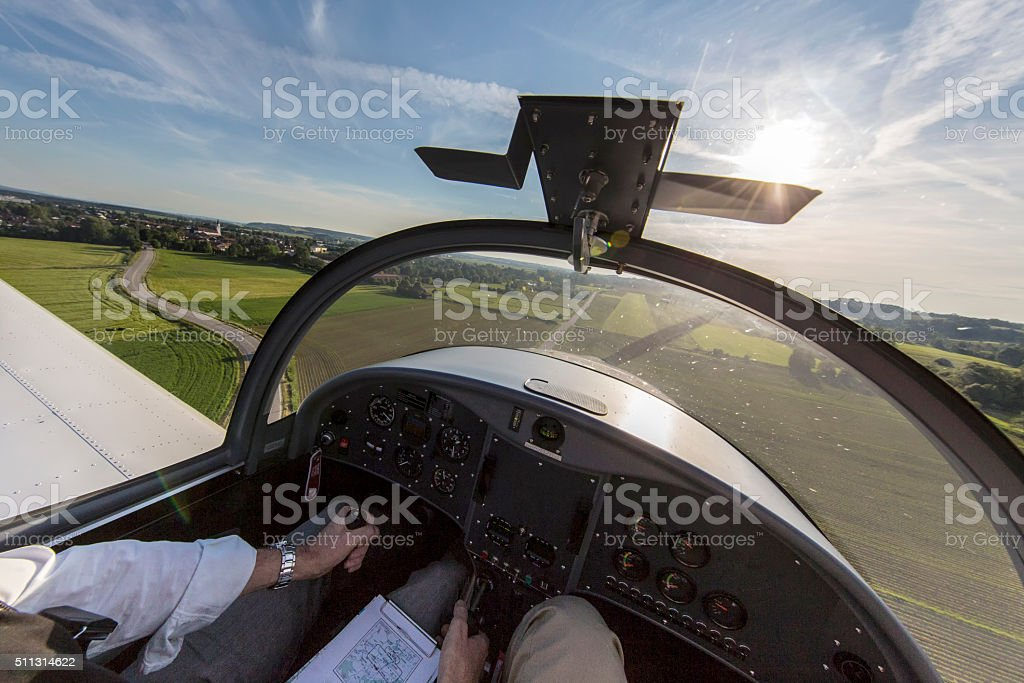 View from the cockpit during landing stock photo