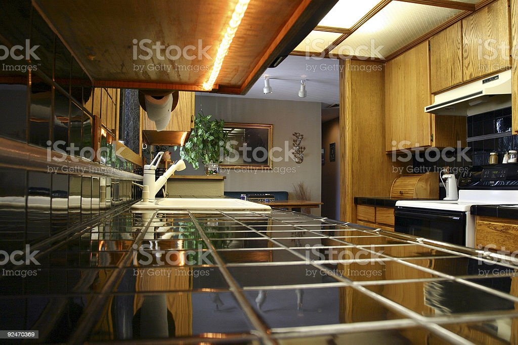 A view from the counter of a kitchen royalty-free stock photo