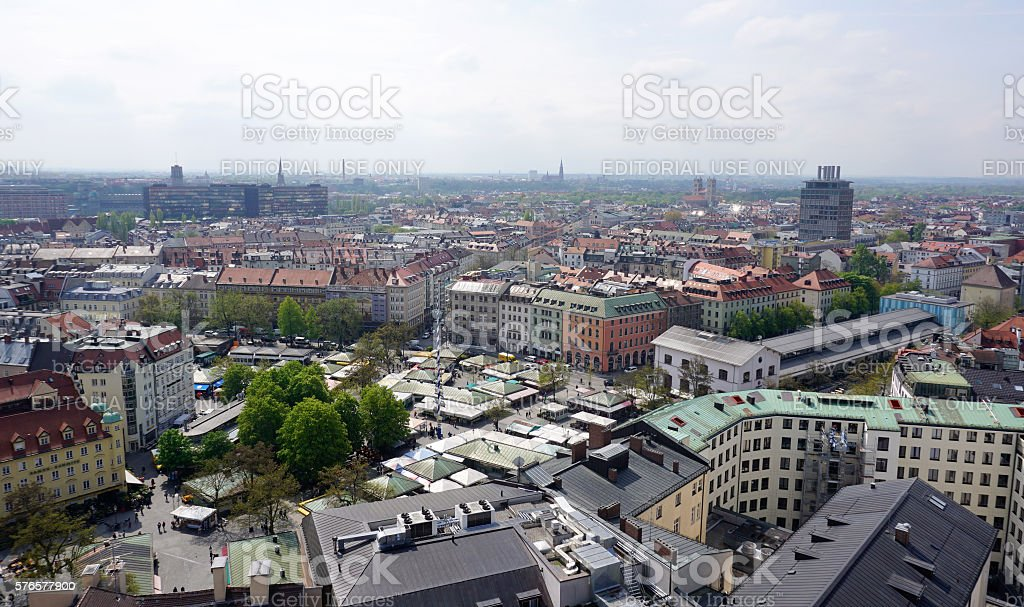 view from the crurch tower to city of munich stock photo