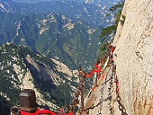 View from The Danger trail of Mount Huashan, China.