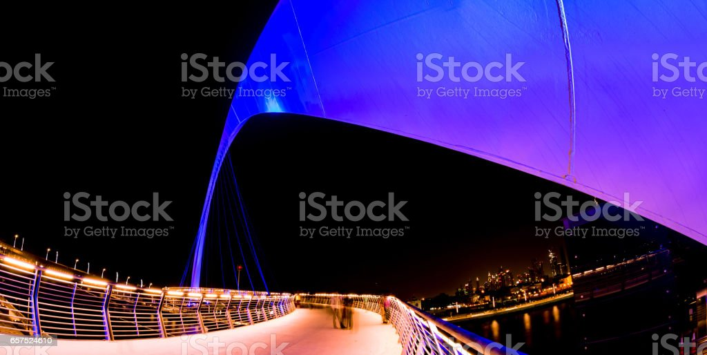 View from the Dubai canal bridge - An Engineering Marvel. stock photo