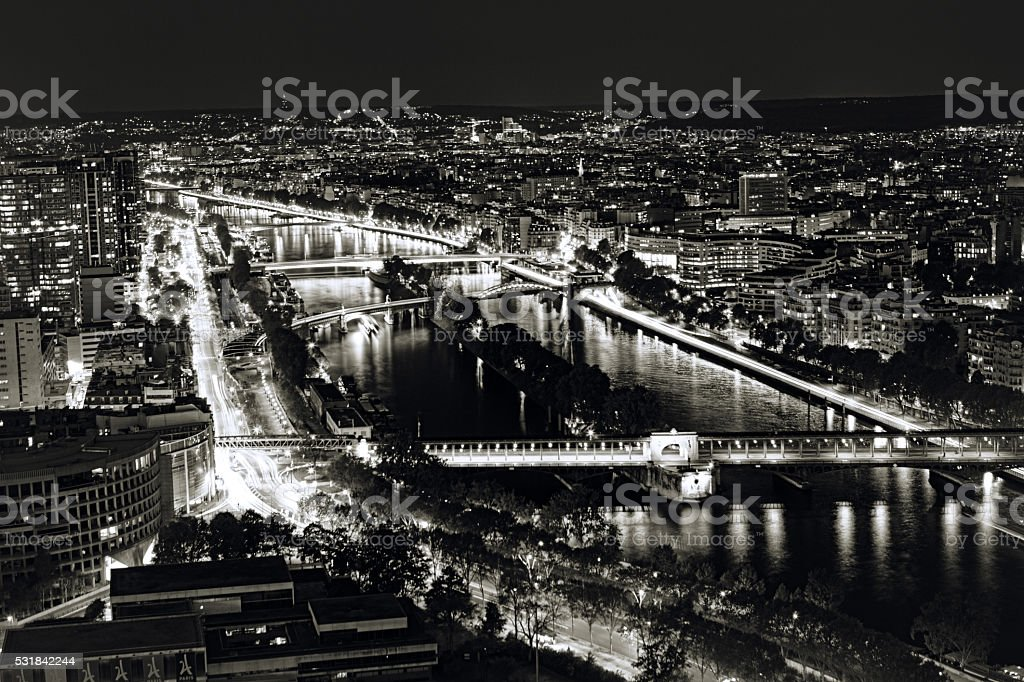 View from the Eiffel tower. Night shot stock photo