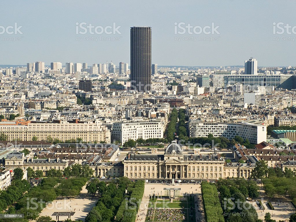 View from the Eiffel Tower to the tower Montparnasse stock photo