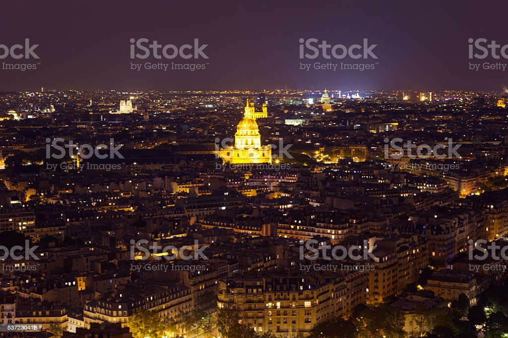 View from the Eiffeltower. Hotel des Invalides at night stock photo