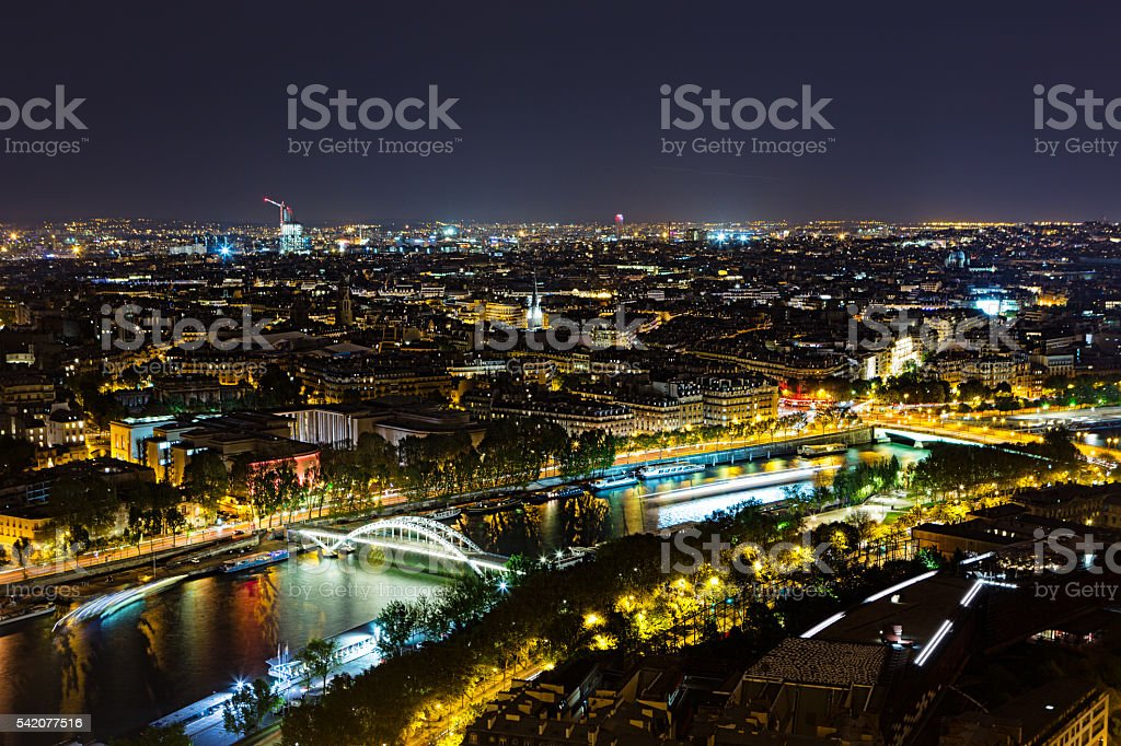 View from the Eiffeltower. Night shot stock photo
