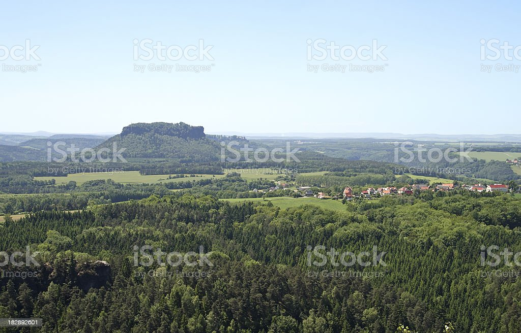 View from the Elbe Sandstone Mountains stock photo