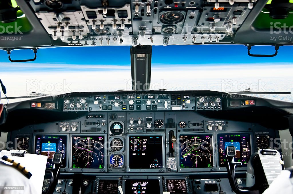 View from the flight deck of modern airliner plane stock photo