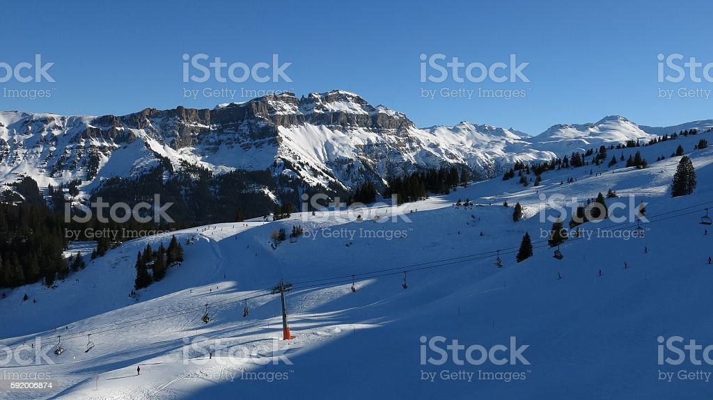 View from the Flumserberg ski area, Mt Hochfinsler stock photo