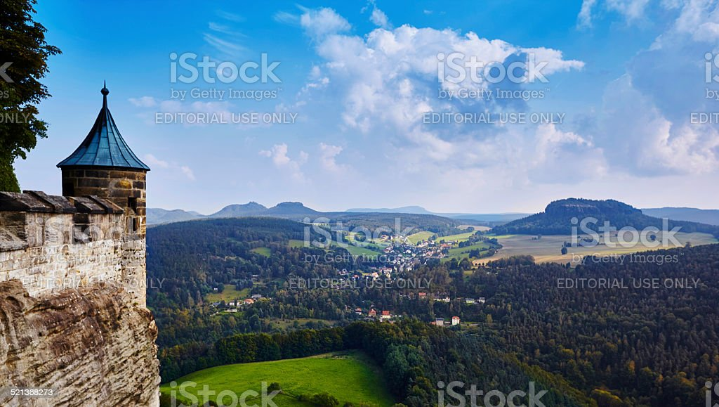 View from the fortress K?nigstein into Elbsandstein mountains stock photo