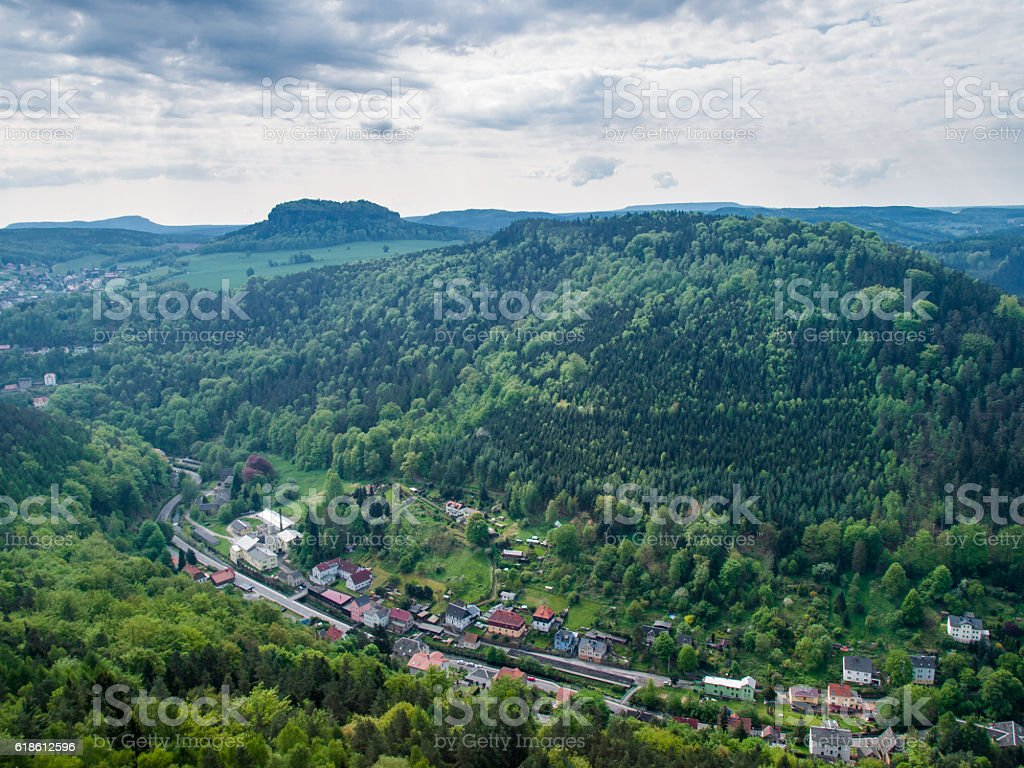 View from the fortress Koenigstein stock photo
